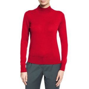 Theory Mock-Neck Sallie Refine Sweater Red Sz L